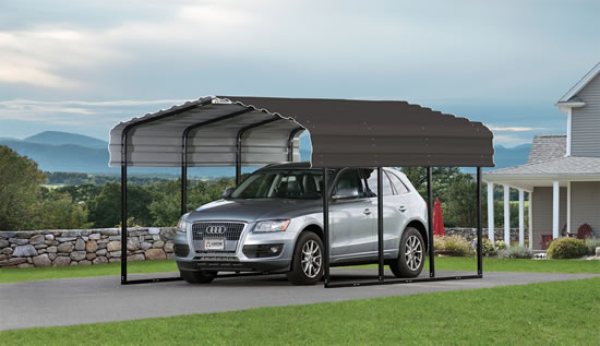 Arrow 10x15x7 Steel Carport Kit - Charcoal CPHC101507-Perfect storing boats, picnic and outdoor furniture and summer toys in the off-season.