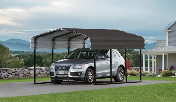Arrow 10x20x7 Steel Carport Kit - Charcoal (CPHC102007) Ideal shade protection for your vehicle against the sun.