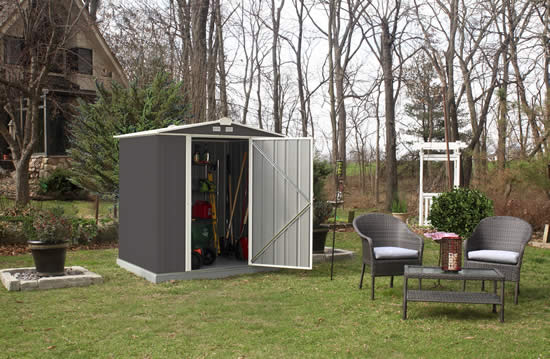 Arrow 6x5 Ezee Storage Shed Kit-Low Gable, 65 in Walls, Vents-Charcoal & Cream-EZ6565LVCCCR-Perfect for outdoor storage sheds.