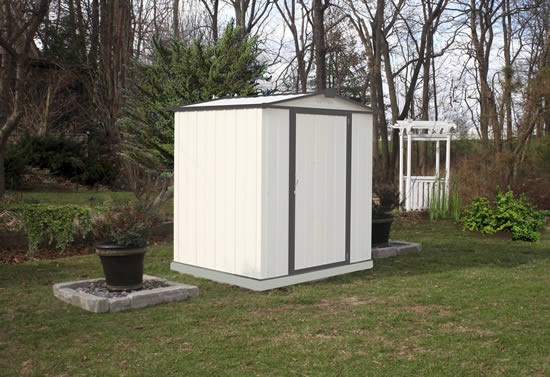 Arrow 6x5 Ezee Storage Shed Kit-Low Gable, 65 in Walls, Vents-Cream & Charcoal-EZ6565LVCRCC-Perfect for outdoor storage sheds.
