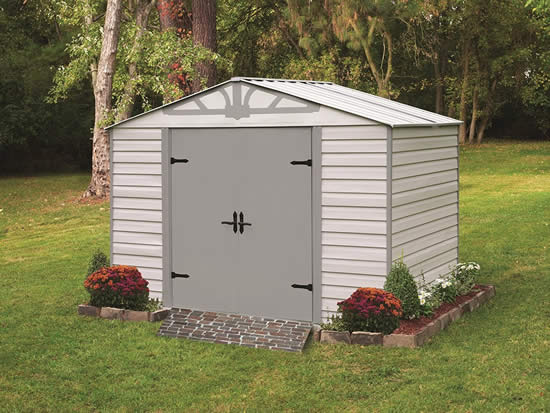 Arrow Admiral10x7 Vinyl Coated Steel Shed Kit HDVAS107 - Assembled in backyard for storage