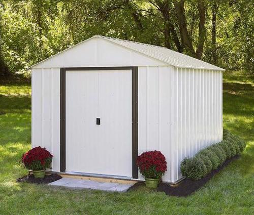 Arrow Arlington 10x12 Storage Shed Kit (AR1012) Assembled in the backyard.