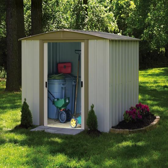 Arrow 8x8 Bedford Metal Storage Shed Kit (BD88) This shed will help you organize your lawn and garden equipments.