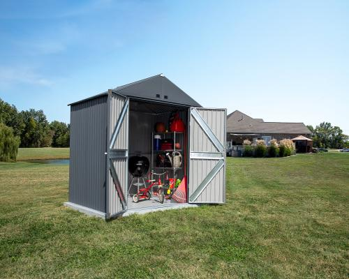 Arrow 8x6 Elite Steel Storage Shed Kit - Anthracite (EG86AN) This shed helps you to organize your tools and equioment.