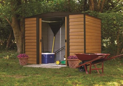 Arrow 8x6 Euro Dallas Metal Storage Shed Kit (ED86 / WR86) This shed can store your lawn mowers, mops and coolers.