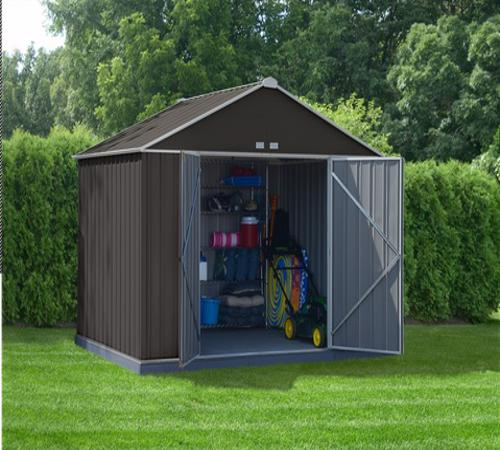 10x8 Ezee Storage Shed Kit - Extra High Gable, 72 in Walls, Vents, Charcoal & Cream-EZ10872HVCCCR- Provides an expansive area for your lawn and garden equipment.