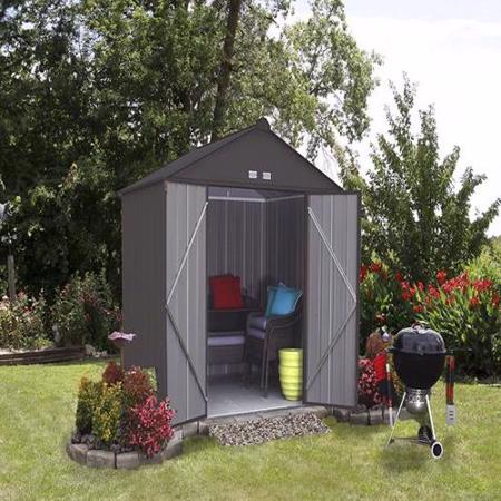 8x7 Ezee Storage Shed Kit Charcoal (EZ8772HVCC) Ideal storage for your lawn and garden tools.