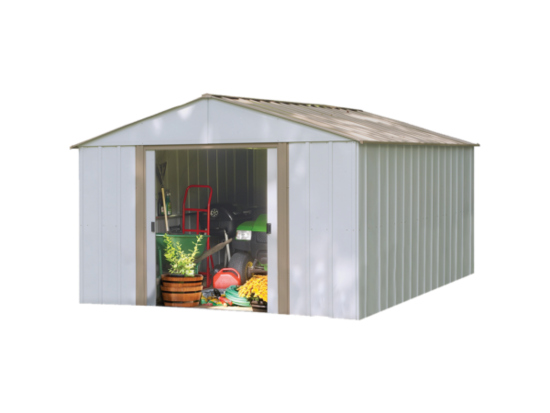 Arrow 10x14 Oakbrook Steel Storage Shed Kit OB1014- perfect for your backyard.