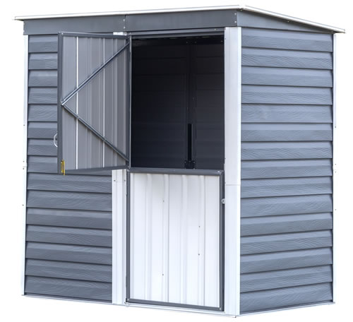 Arrow Shed-In-A-Box 6x4 Galvanized Steel Storage Shed - Charcoal/Cream (SBS64) Assembled with doors open