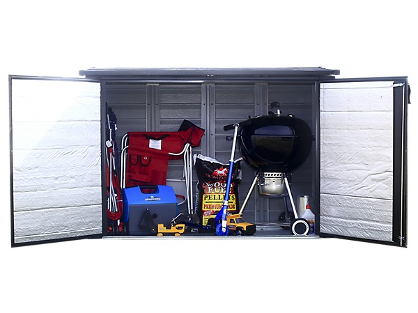 Arrow 6x3 Versa-Shed Locking Horizontal Storage Shelter-Onyx EVRS63-Perfect storage for refuse and recycling bins, small garden tools and supplies, outdoor gear, and more.