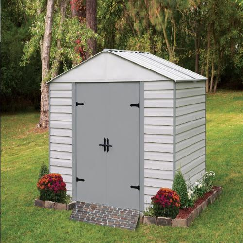 Arrow 10x7 Viking Vinyl Coated Steel Shed Kit (VVCS107) This shed has a storage space of 432 cu.ft to give room to your belongings.