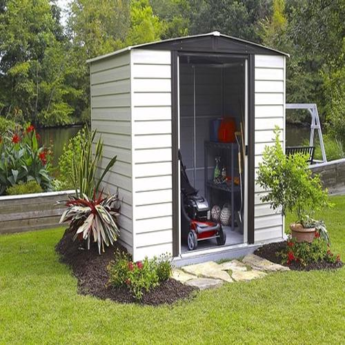 Arrow 10x12 Vinyl Dallas Shed w/ Foundation & Shelving (VD1012B) This shed comes with foundation kit and shelvings for more storage.