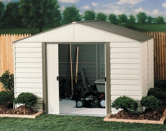 Arrow 10x12 Vinyl Milford Shed w/ Foundation & Shelving (VM1012B) This shed comes with a foundation kit and shelvings for more storage space.