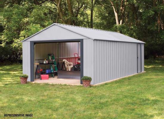 Arrow Vinyl Murryhill 14x31 Steel Prefab Storage Shed Kit (BGR1431FG) This shed will help you organize your clutters.