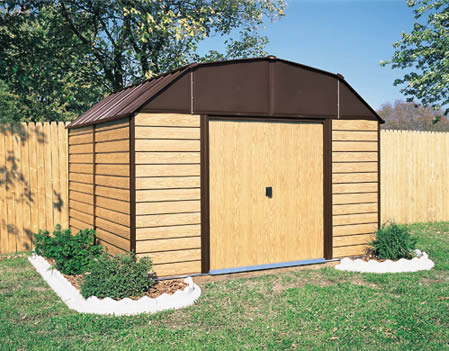 Arrow Woodhaven 10x9 Storage Shed Kit WH109 assembled in backyard