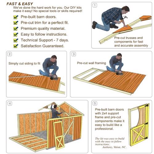 Best Barns Arlington 12x24 Wood Storage Shed Kit (arlington_1224) DIY Assembly No Skills Required
