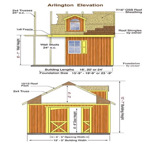 Best Barns Arlington 12x24 Wood Storage Shed Kit (arlington_1224) Shed Elevation
