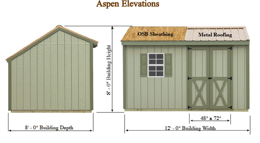 Best Barns Aspen 12x8 Wood Storage Shed Kit (aspen_128) Shed Elevation
