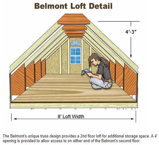 Best Barns Belmont 12x16 Wood Storage Shed Kit (belmont_1216) Second Floor Loft
