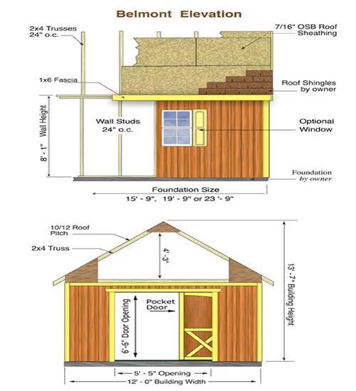 Best Barns Belmont 12x24 Wood Storage Shed Kit (belmont_1224) Shed Elevation