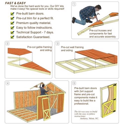 Best Barns Brandon 12x16 Wood Storage Shed Kit - ALL Pre-Cut (brandon_1216) DIY Assembly No Skills Required