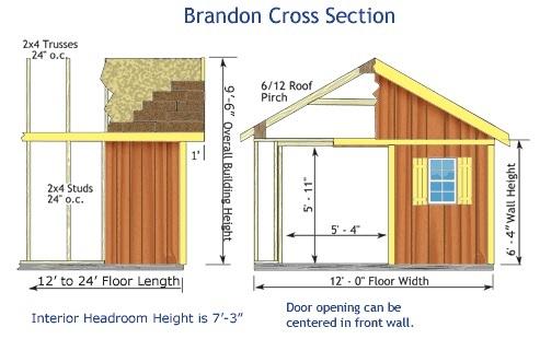 Best Barns Brandon 12x16 Wood Storage Shed Kit - ALL Pre-Cut (brandon_1216) Shed Elevation