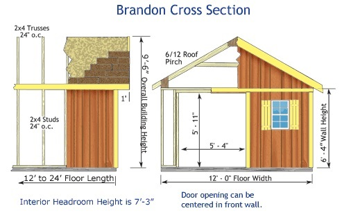 Best Barns Brandon 12x20 Wood Storage Shed Kit - ALL Pre-Cut (brandon_1220) Shed Elevation