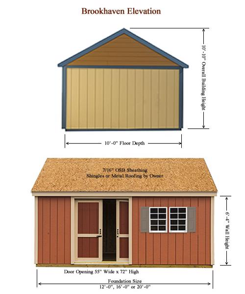 Best Barns Brookhaven 16x10 Wood Storage Shed Kit (bhaven1016) Shed Elevation