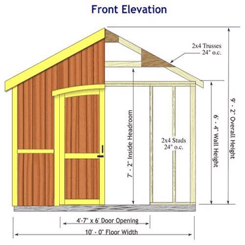 Best Barns Cambridge 10x16 Wood Storage Shed Kit (cambridge_1016) Shed Elevation