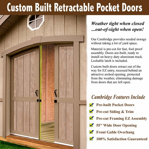Best Barns Cambridge 10x16 Wood Shed Kit - All Pre-Cut (cambridge_1016) Pocket Doors Features