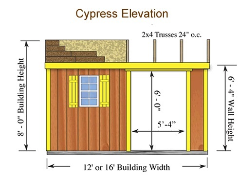 Best Barns Cypress 16x10 Wood Storage Shed Kit (cypress_1016) Shed Elevation