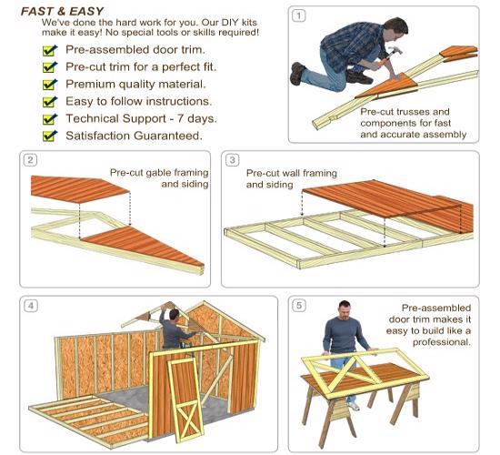 Best Barns Danbury 8x12 Wood Storage Shed Kit - All Pre-Cut (danbury_0812) DIY Assembly No Skills Required