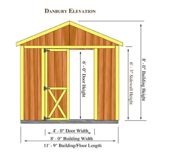 Best Barns Danbury 8x12 Wood Storage Shed Kit - All Pre-Cut (danbury_0812) Shed Elevation