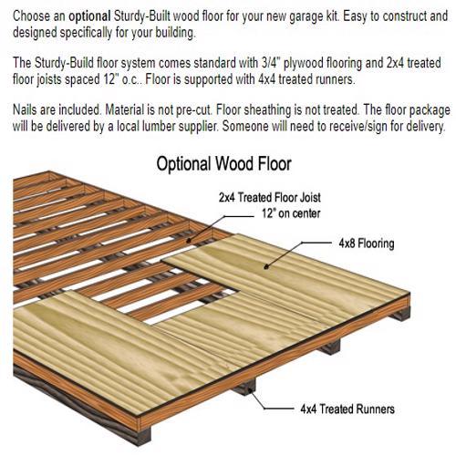 Best Barns Dover 12x16 Wood Garage Kit - All-Precut (dover_1216) Optional Wood Floor Kit