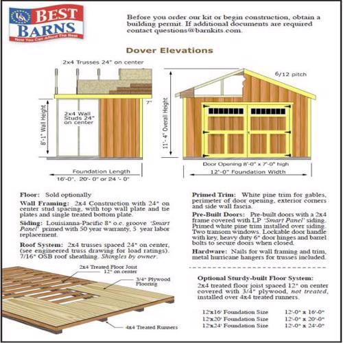 Best Barns Dover 12x24 Wood Garage Kit - All-Precut (dover_1224) Shed Elevation