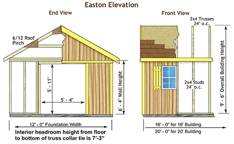 Best Barrns Easton 16x12 Wood Storage Shed Kit - ALL Pre-Cut (easton_1216) Shed Elevation
