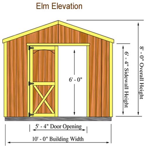 Best Barns Elm 10x16 Wood Storage Shed Kit (elm_1016) Shed Elevation