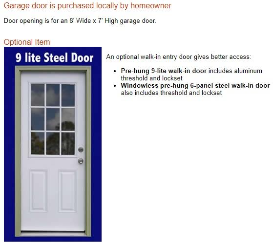 Best Barns Glenwood 12x16 Wood Storage Garage Kit (glenwood_1216) Optional Walk-In Entry Doors