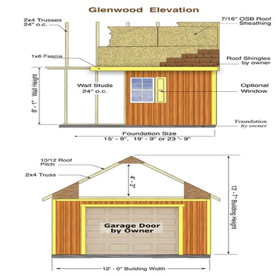 Best Barns Glenwood 12x24 Wood Storage Garage Kit (glenwood_1224) Shed Elevation