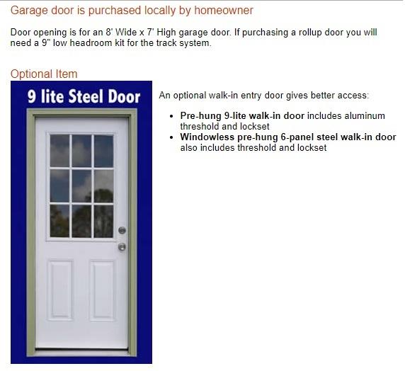Best Barns Greenbriar 12x16 Garage Shed - All-Precut (greenbriar_1216) Optional Walk-In Entry Doors