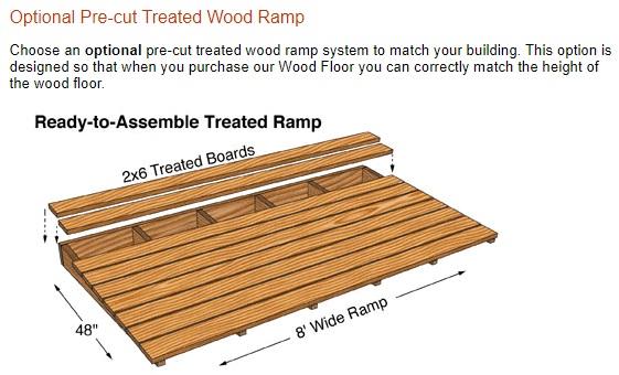 Best Barns Greenbriar 12x16 Wood Garage Shed Kit - All-Pre-Cut (greenbriar_1216) Optional Wood Ramp Kit