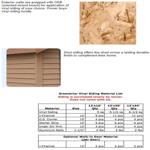 Best Barns Greenbriar 12x16 Wood Garage Shed Kit - All Pre-Cut (greenbriar_1216) Siding Material