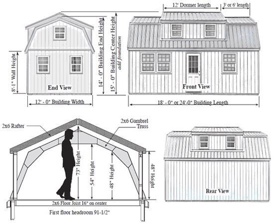 Best Barns Lakewood 12x18 Wood Storage Shed Kit (lakewood_1218) Shed Elevation