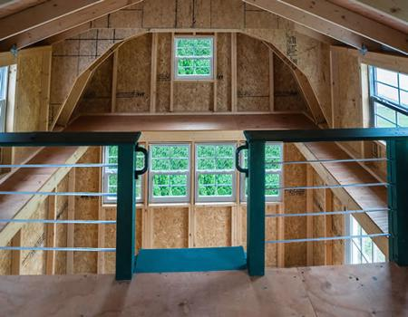 Best Barns Lakewood 12x18 Wood Storage Shed Kit (lakewood_1218) Interior view of first floor from loft