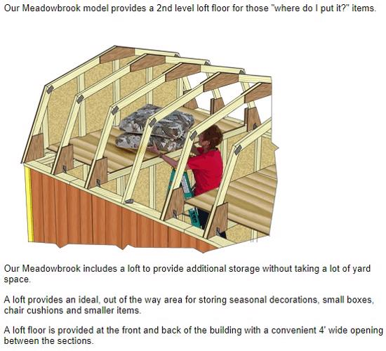 Best Barns Meadowbrook 12x10 Wood Storage Shed Kit (meadowbrook_1012) Second Floor Loft