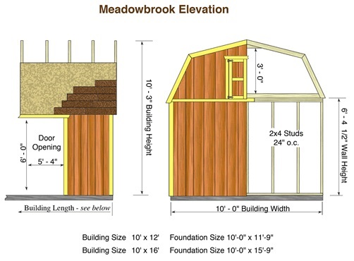 Best Barns Meadowbrook 16x10 Wood Storage Shed Kit (meadowbrook_1016) Shed Elevation