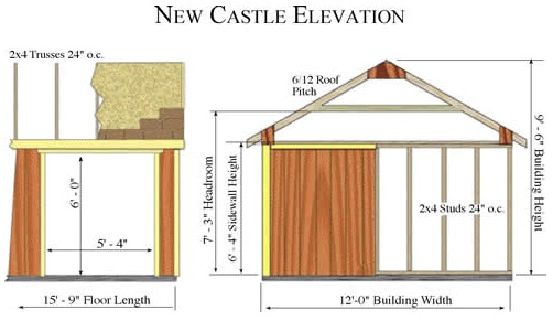 Best Barns New Castle 16x12 Wood Storage Shed Kit - All Pre-Cut (newcastle_1216) Shed Elevation