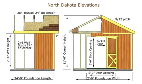 Best Barns North Dakota 12x12 Wood Storage Shed Kit (northdakota_1212) Shed Elevation