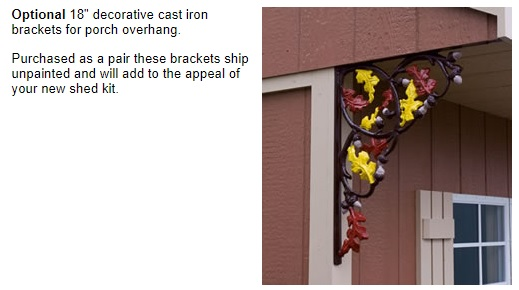 Best Barns Northwood 10x10 Wood Storage Shed Kit - All Pre-Cut (NW1010) Decorative Cast Iron Brackets