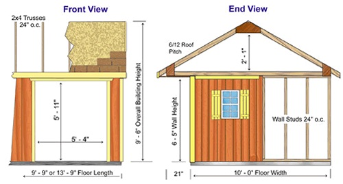 Best Barns Northwood 10x10 Wood Storage Shed Kit - All Pre-Cut (NW1010) Shed Elevation